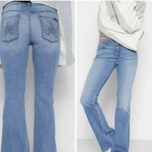 7FAMK Light Wash A Pocket Flare Leg Jean